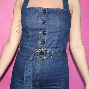 8646f8abdd36 Honey Punch Pants - Women s S Denim Jumpsuit W  Buttons and Belt